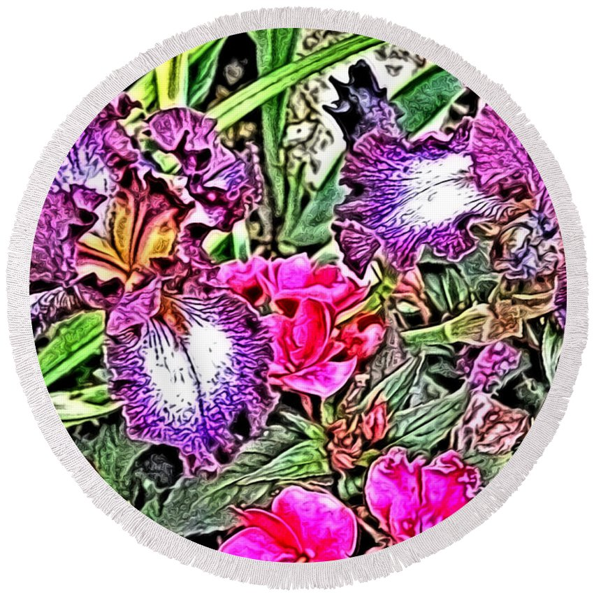 Irises Round Beach Towel featuring the digital art Purple And White Irises And Pink Flowers by April Patterson