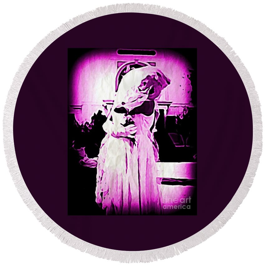 Purple Colors Round Beach Towel featuring the digital art Purple Bride by John Malone