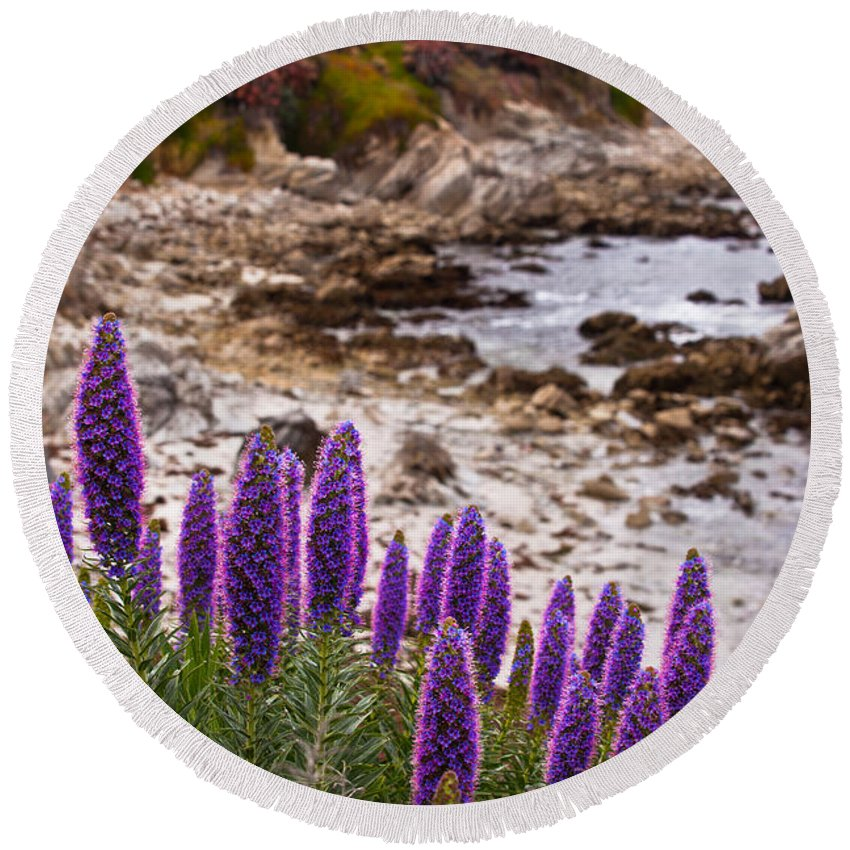 Rocky Round Beach Towel featuring the photograph Purple California Coastline by Melinda Ledsome