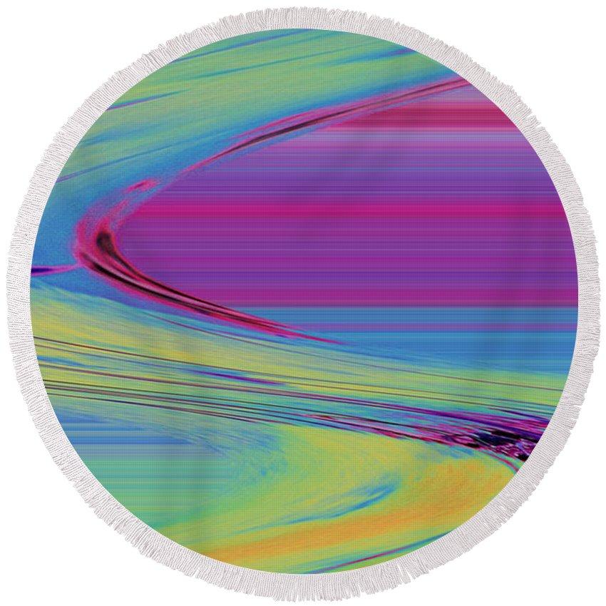 Purple Round Beach Towel featuring the digital art Purple by Carol Lynch