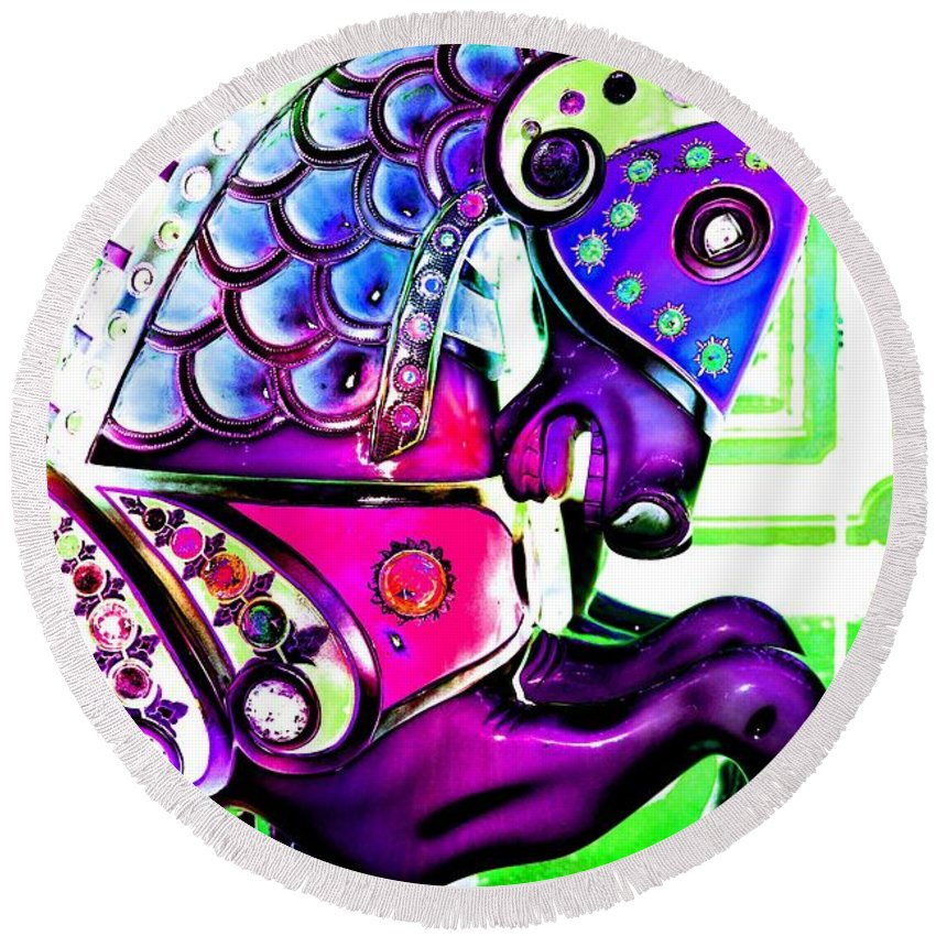 Carousel Round Beach Towel featuring the digital art Purple Carousel Horse by Patty Vicknair