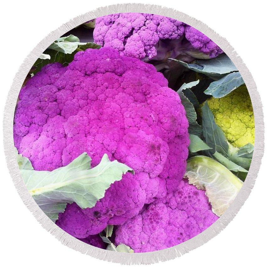 Cauliflower Round Beach Towel featuring the photograph Purple Cauliflower by Susan Garren