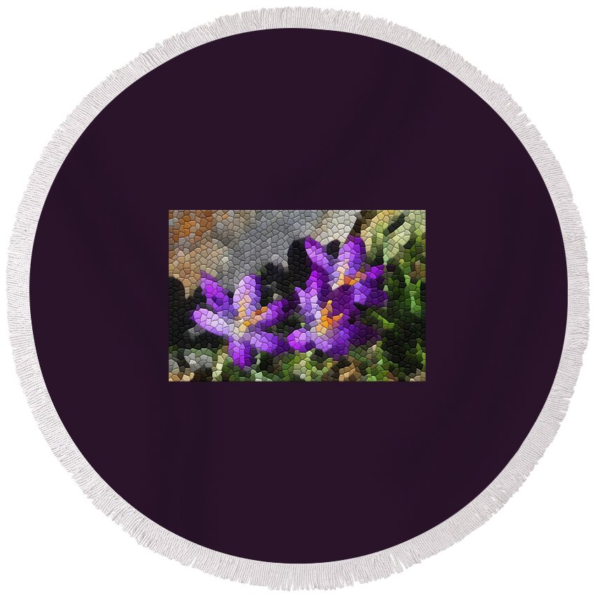 Mosaic Round Beach Towel featuring the photograph Purple Crocus by Kathryn Meyer