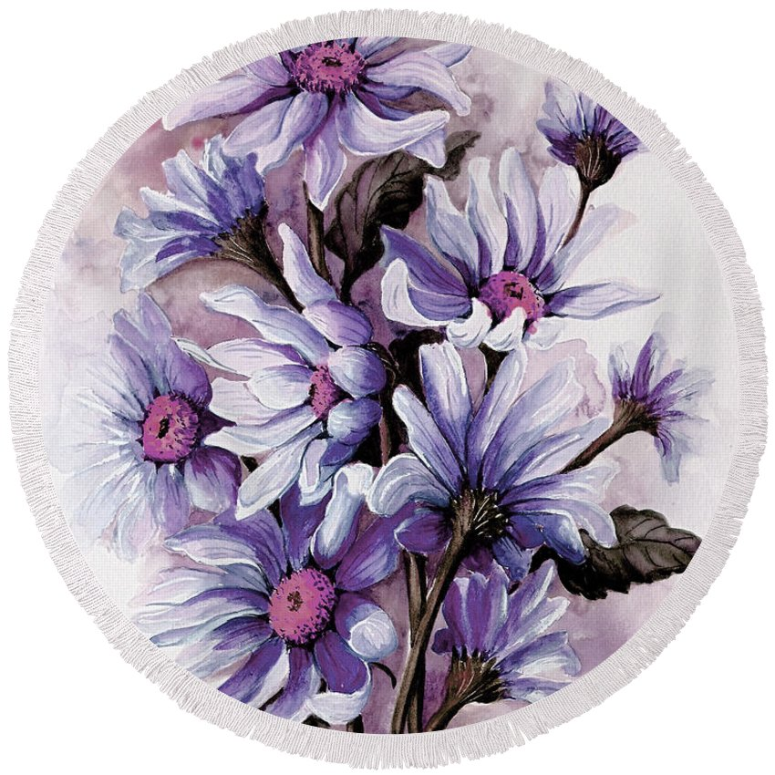 Floral Round Beach Towel featuring the painting Purple Daisies by Karin Dawn Kelshall- Best
