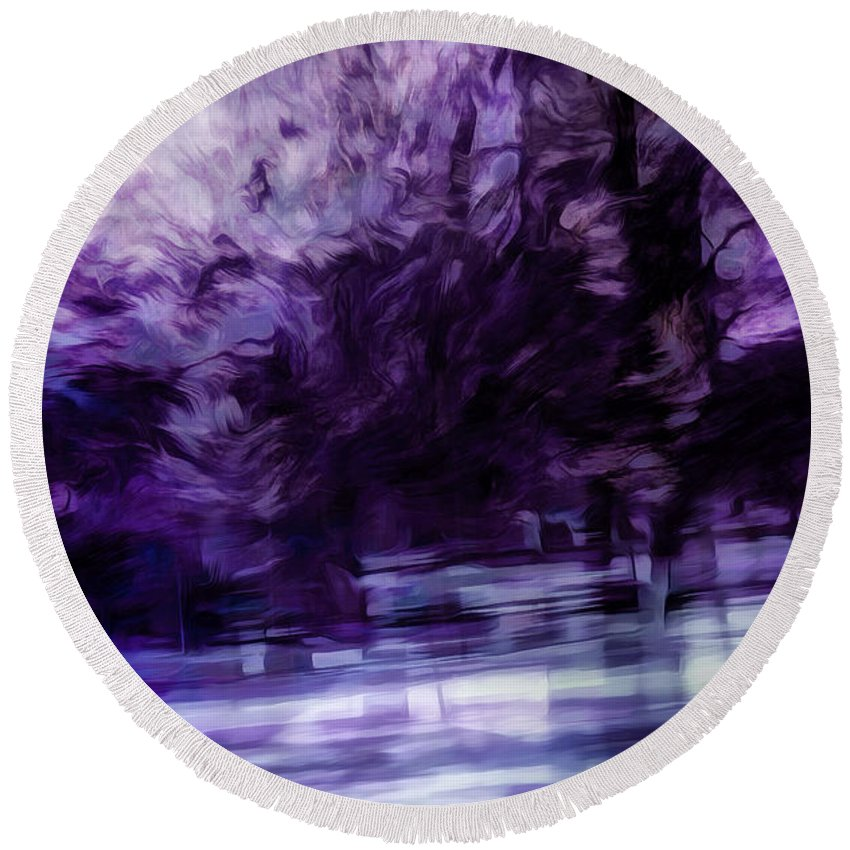 Purple Round Beach Towel featuring the digital art Purple Fire by Scott Norris