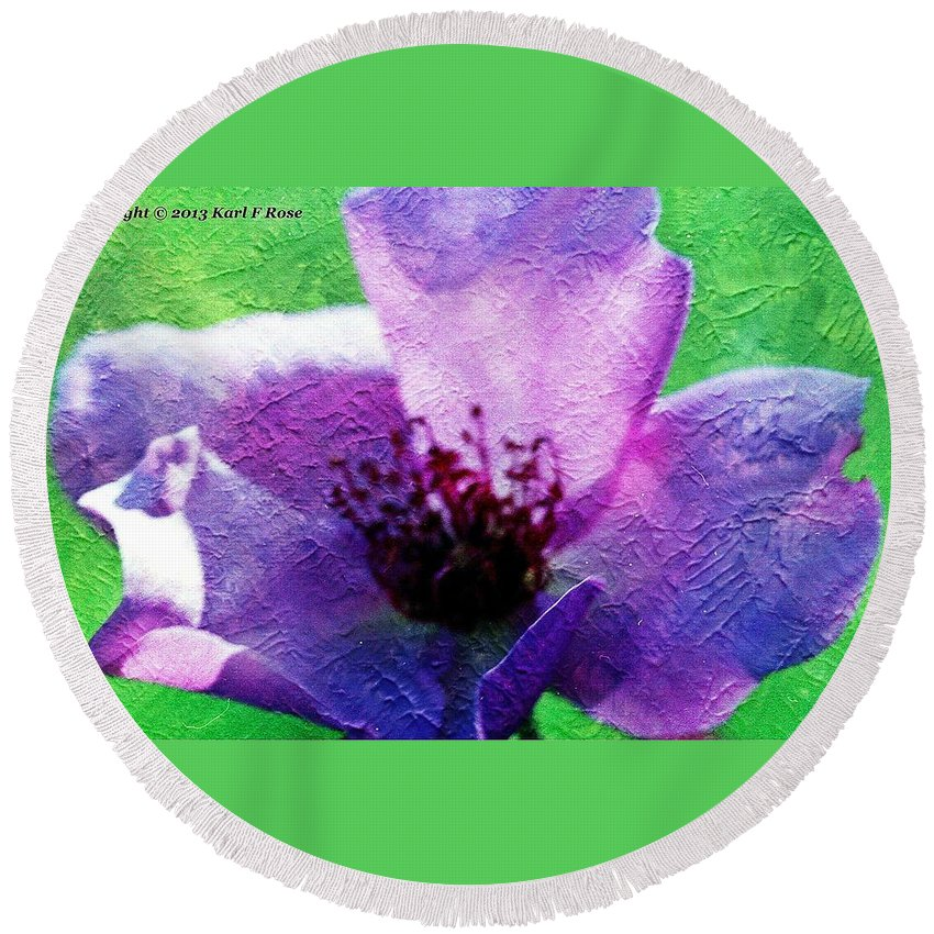 Colors Round Beach Towel featuring the photograph Purple Flower by Karl Rose