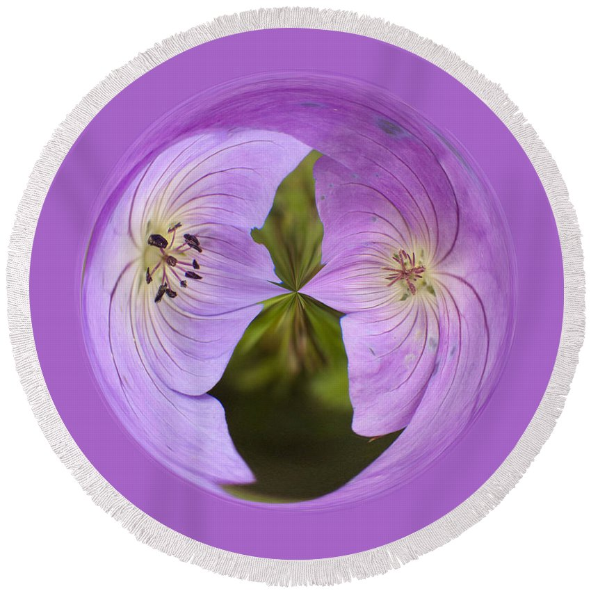 Orb Round Beach Towel featuring the photograph Purple Flower Orb by Darleen Stry