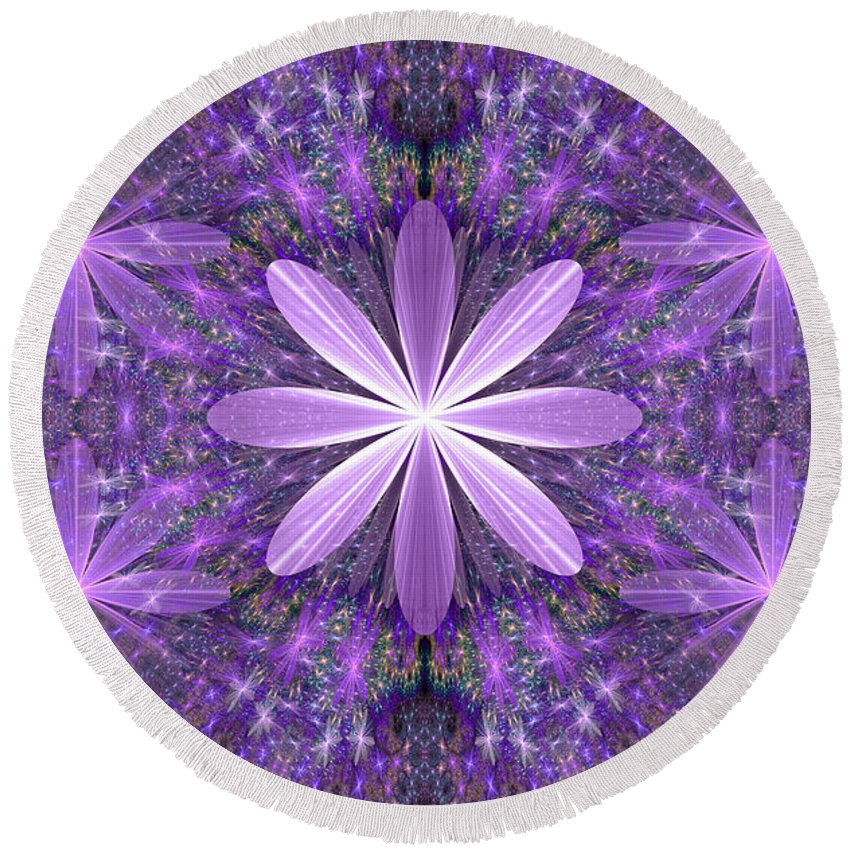 Fractal Round Beach Towel featuring the digital art Purple Flowers by Sandy Keeton