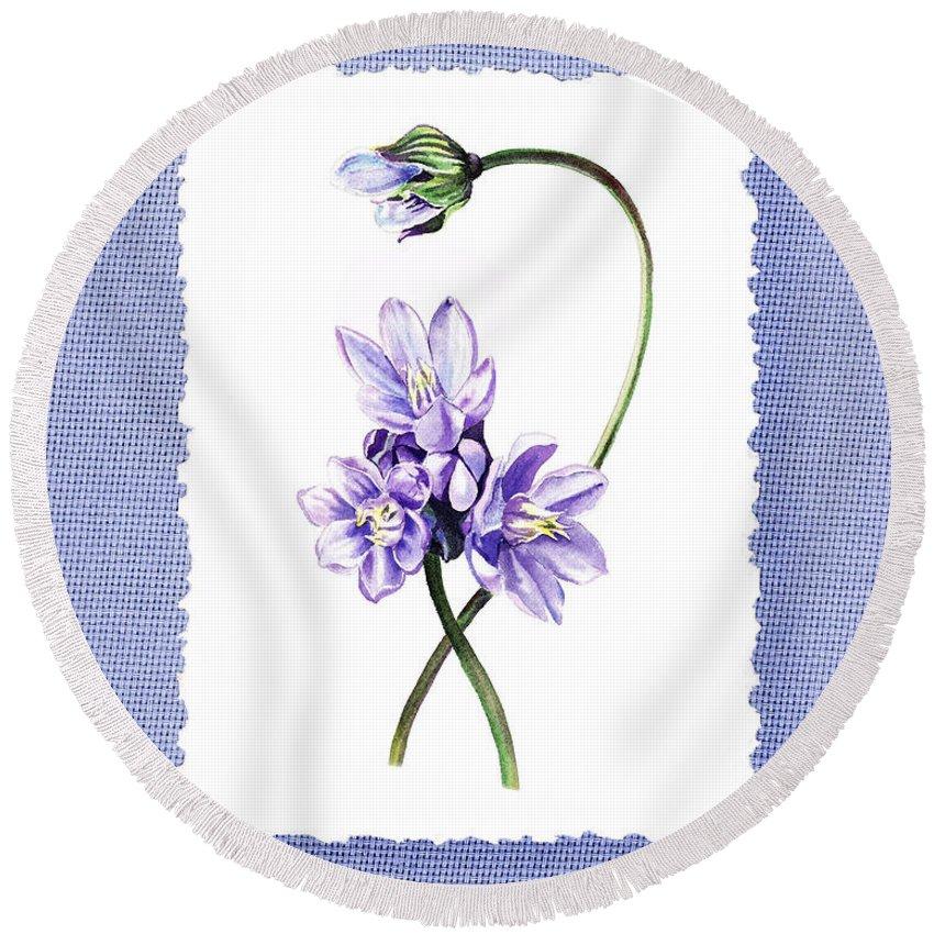 Purple Round Beach Towel featuring the painting Purple Flowers Serenade Botanical Impressionism by Irina Sztukowski