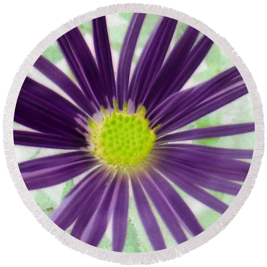 Flower Round Beach Towel featuring the photograph Purple Haze - Photopower 2858 by Pamela Critchlow