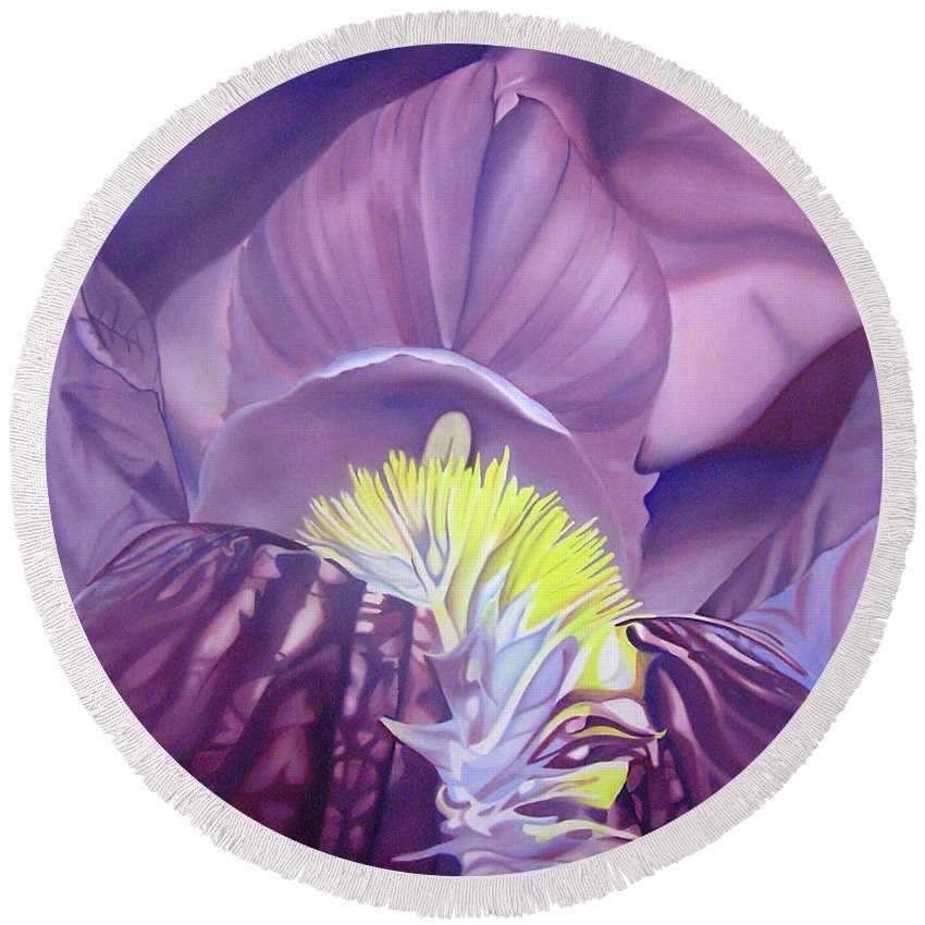 Flower Round Beach Towel featuring the painting Georgia O'keeffe Style-purple Iris by Joshua Morton