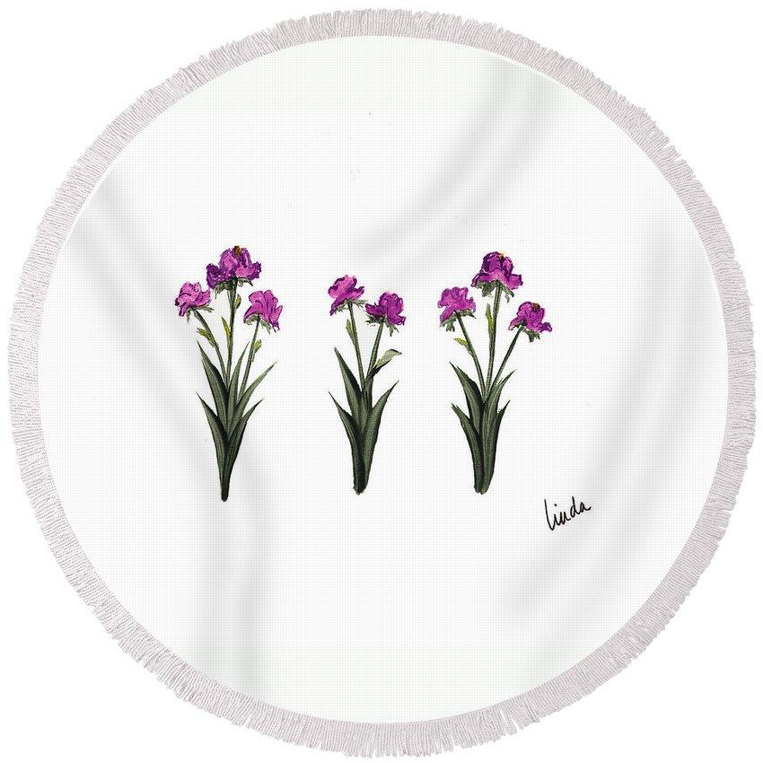 Realism Round Beach Towel featuring the painting Purple Iris by Linda Wimberly
