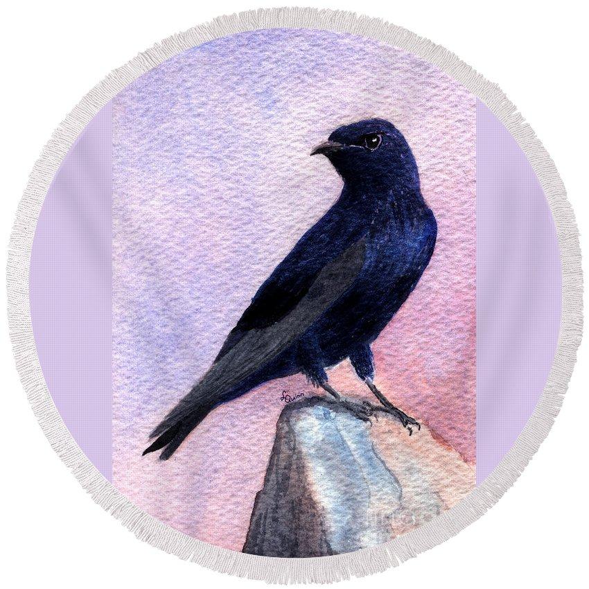 Bird Round Beach Towel featuring the painting Purple Martin by Lynn Quinn