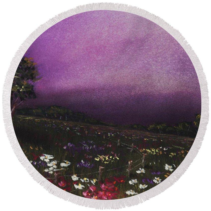 Malakhova Round Beach Towel featuring the painting Purple Meadow by Anastasiya Malakhova