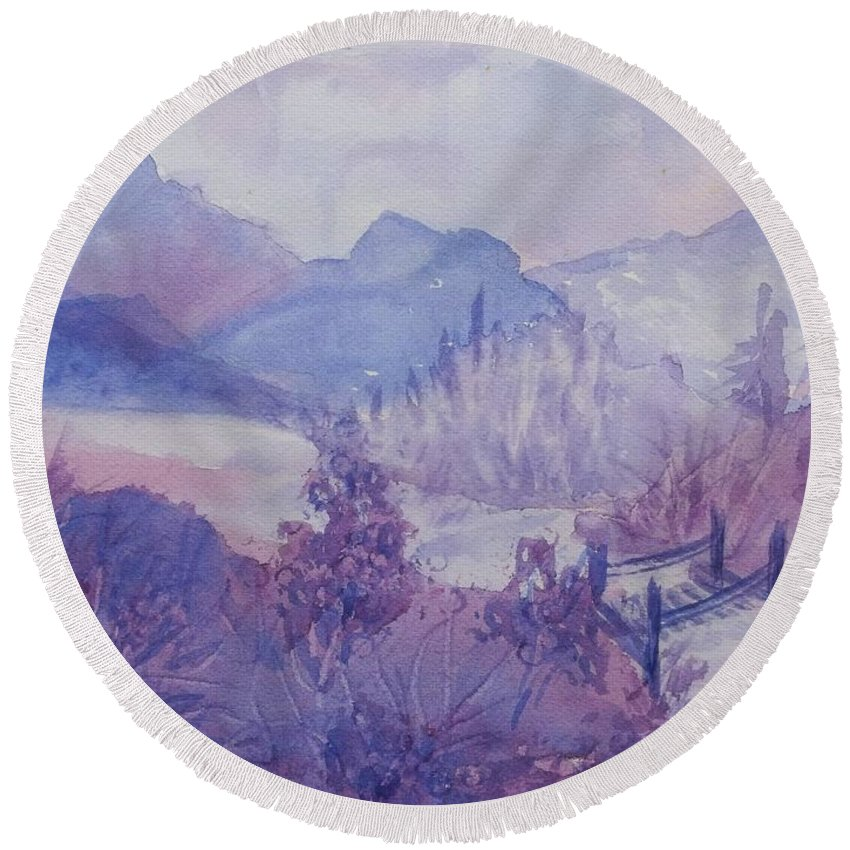 Purple Mountains Round Beach Towel featuring the painting Purple Mountains Fantasy by Ellen Levinson