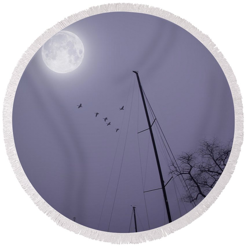 2d Round Beach Towel featuring the photograph Purple Night by Brian Wallace