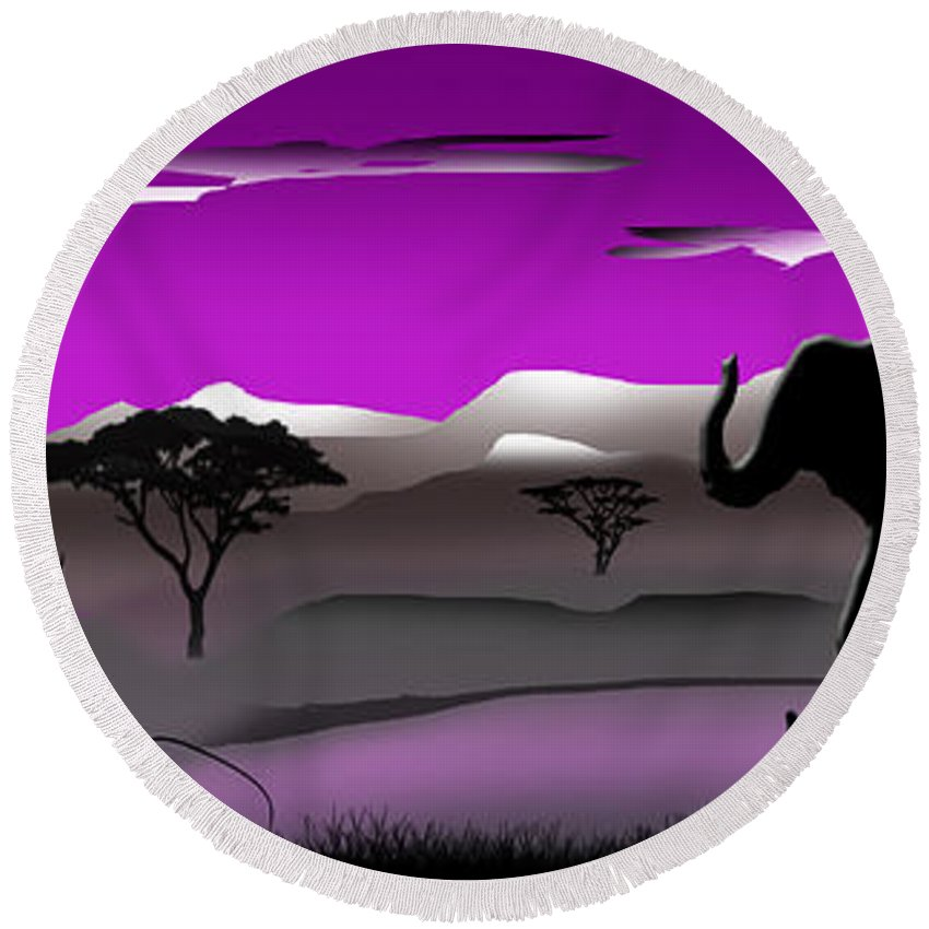 Elephants Round Beach Towel featuring the digital art Purple Parkland by Peter Stevenson