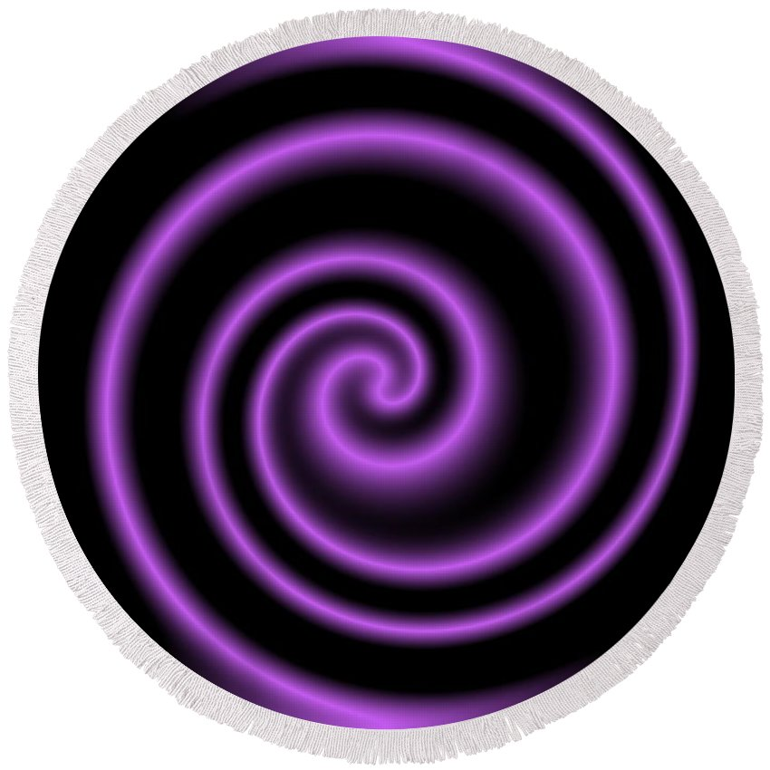 Purple Round Beach Towel featuring the digital art Purple Post by Ron Hedges