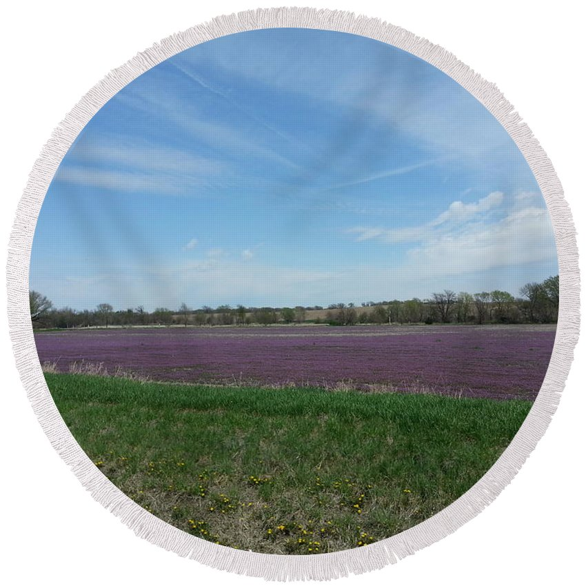 Henbit Round Beach Towel featuring the photograph Purple Prairie by Caryl J Bohn