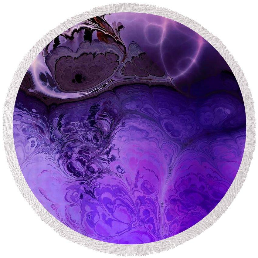 Purple Rain Round Beach Towel featuring the digital art Purple Rain by Liane Wright