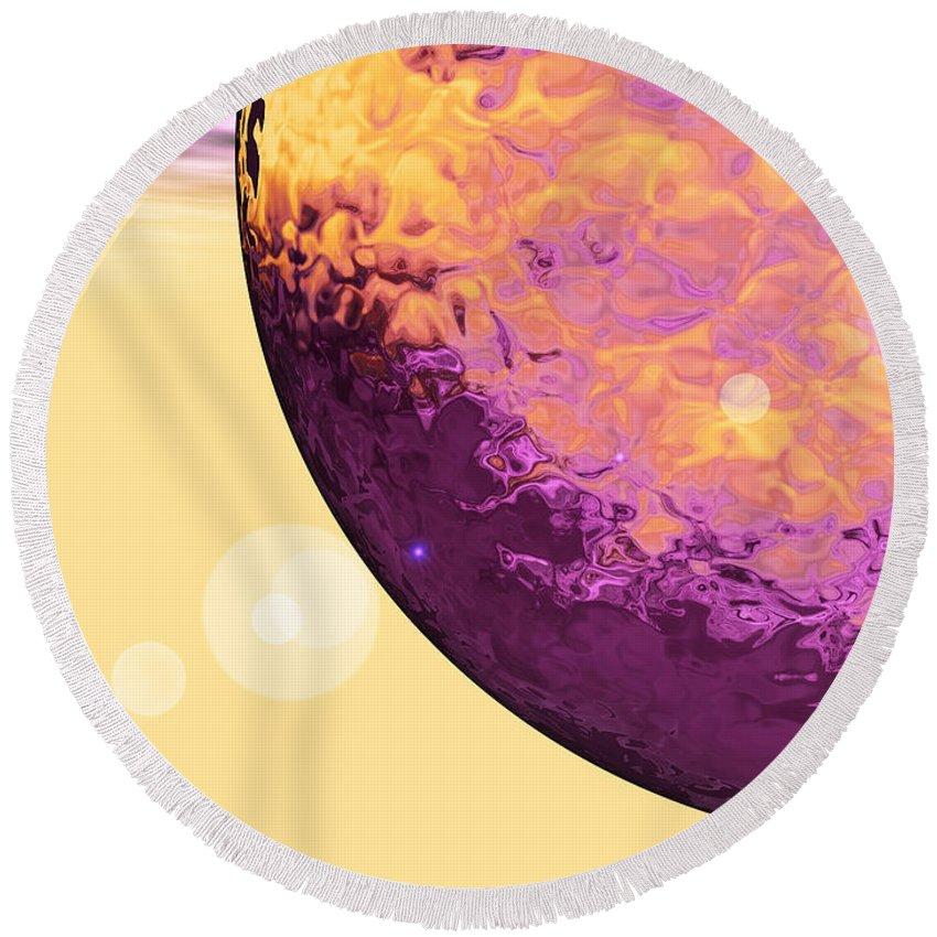Purple Round Beach Towel featuring the digital art Purple Raindrop by Eric Nagel