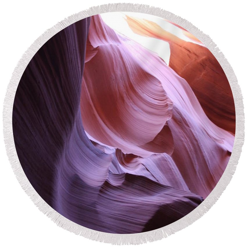 Canyon Round Beach Towel featuring the photograph Purple Sandstone by Christiane Schulze Art And Photography
