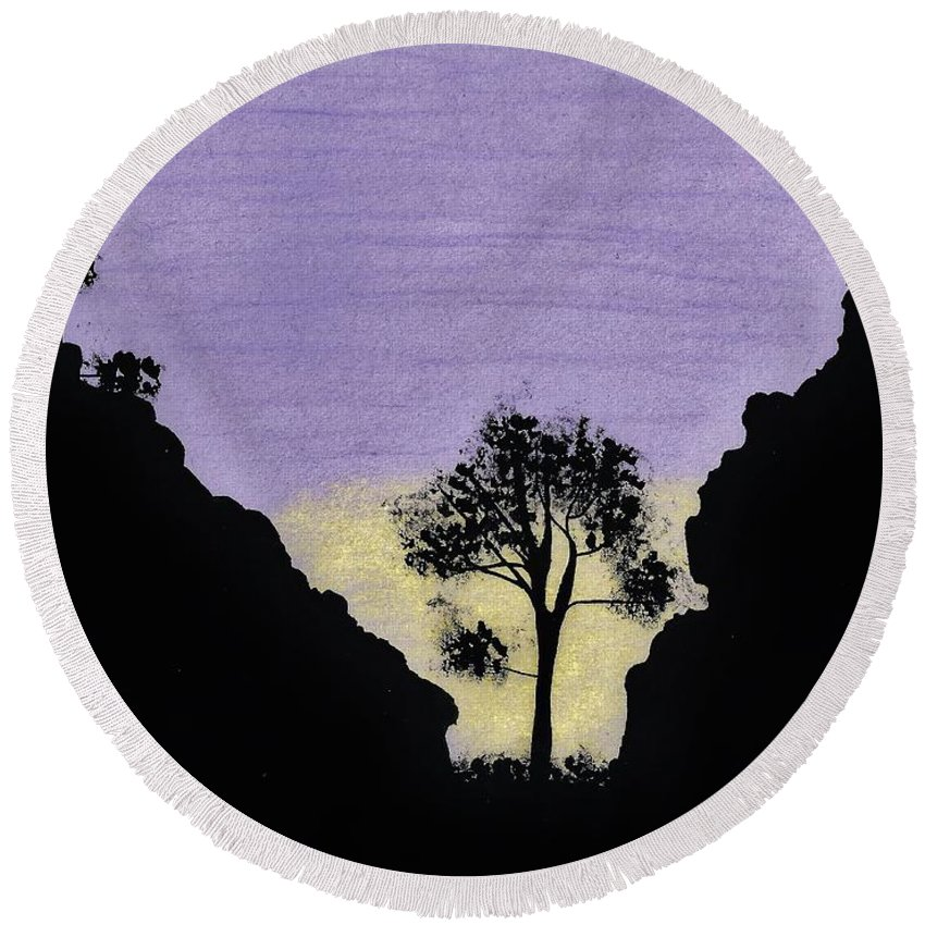 Sunset Round Beach Towel featuring the drawing Purple Sunset Drawing by D Hackett
