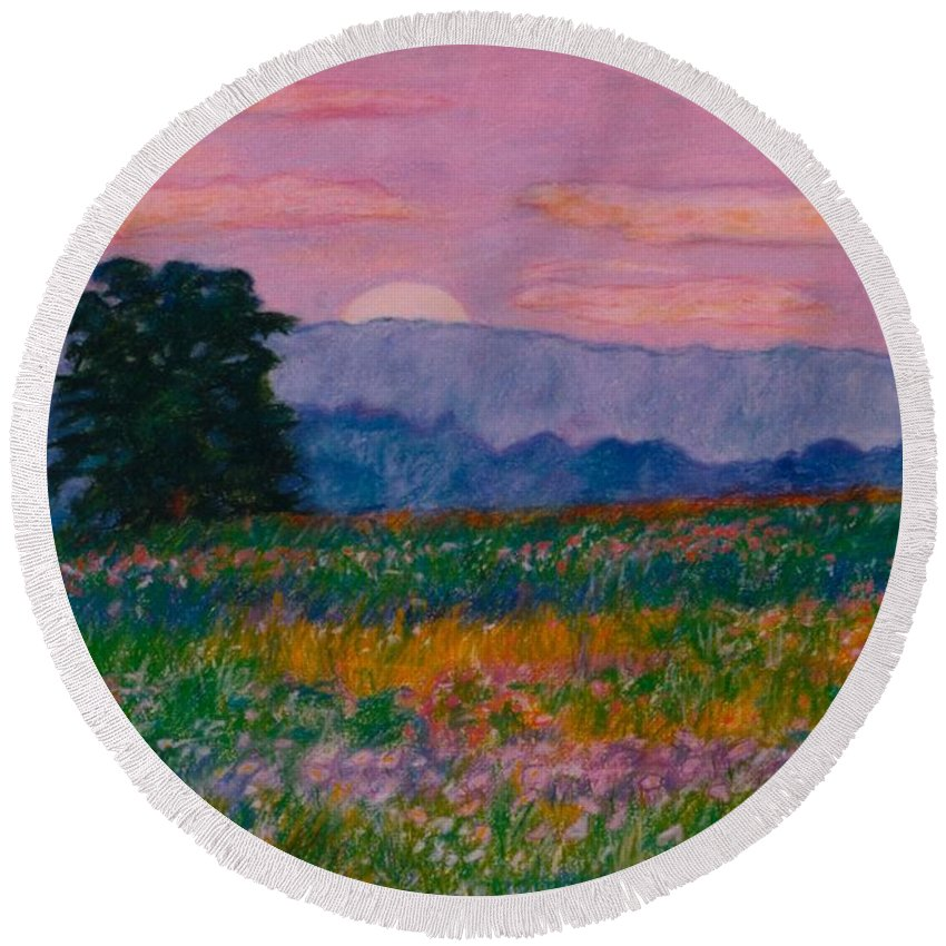 Kendall Kessler Round Beach Towel featuring the painting Purple Sunset On The Blue Ridge by Kendall Kessler