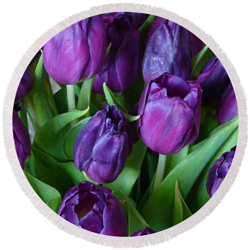 Purple Round Beach Towel featuring the photograph Purple Tulips by Carol Lynch