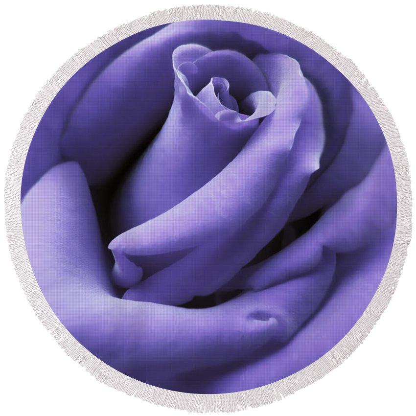 Rose Round Beach Towel featuring the photograph Purple Velvet Rose Flower by Jennie Marie Schell