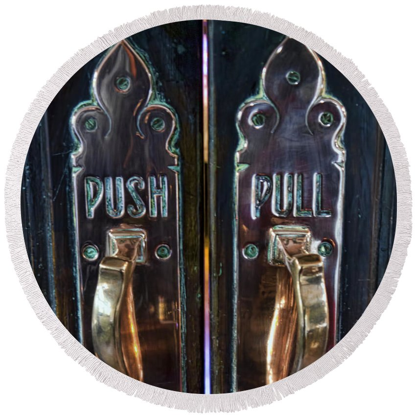 Push Round Beach Towel featuring the photograph Push And Pull by Gillian Singleton