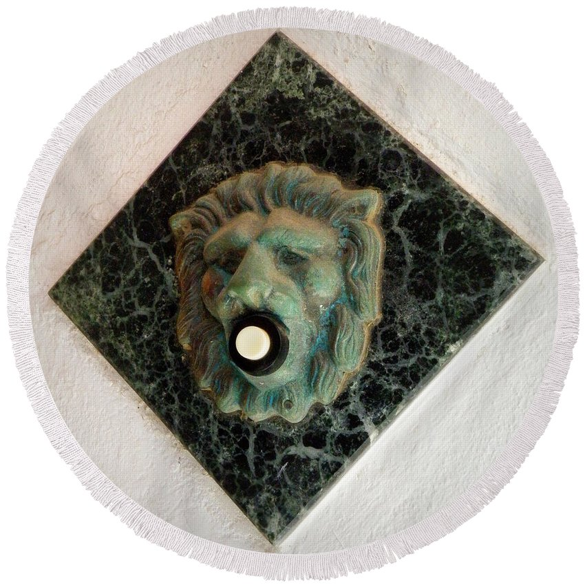 Door Bell Round Beach Towel featuring the photograph Push My Button by Lainie Wrightson