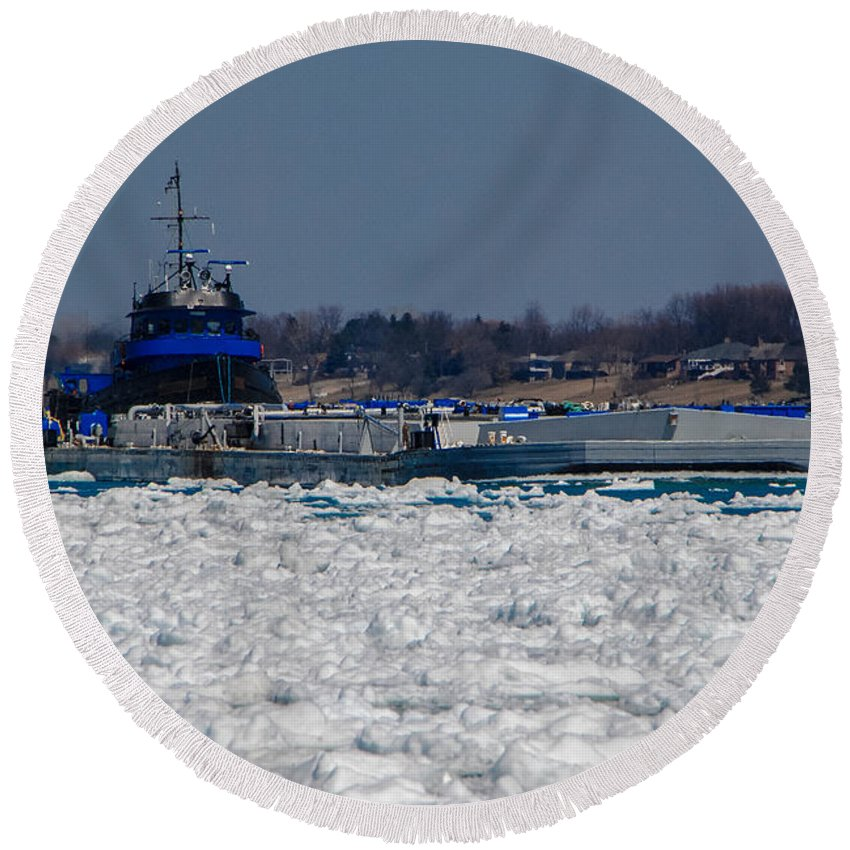 Tug Boat Round Beach Towel featuring the photograph Pushing by Grace Grogan