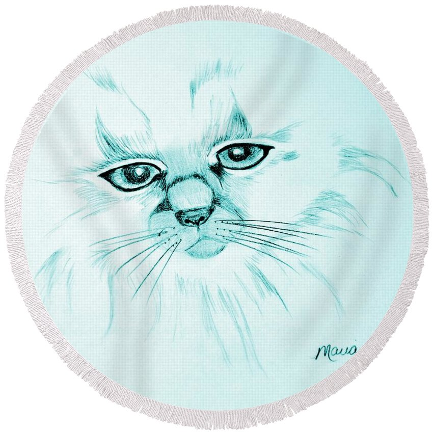 Pussycat Blues Round Beach Towel featuring the drawing Pussycat Blues by Maria Urso