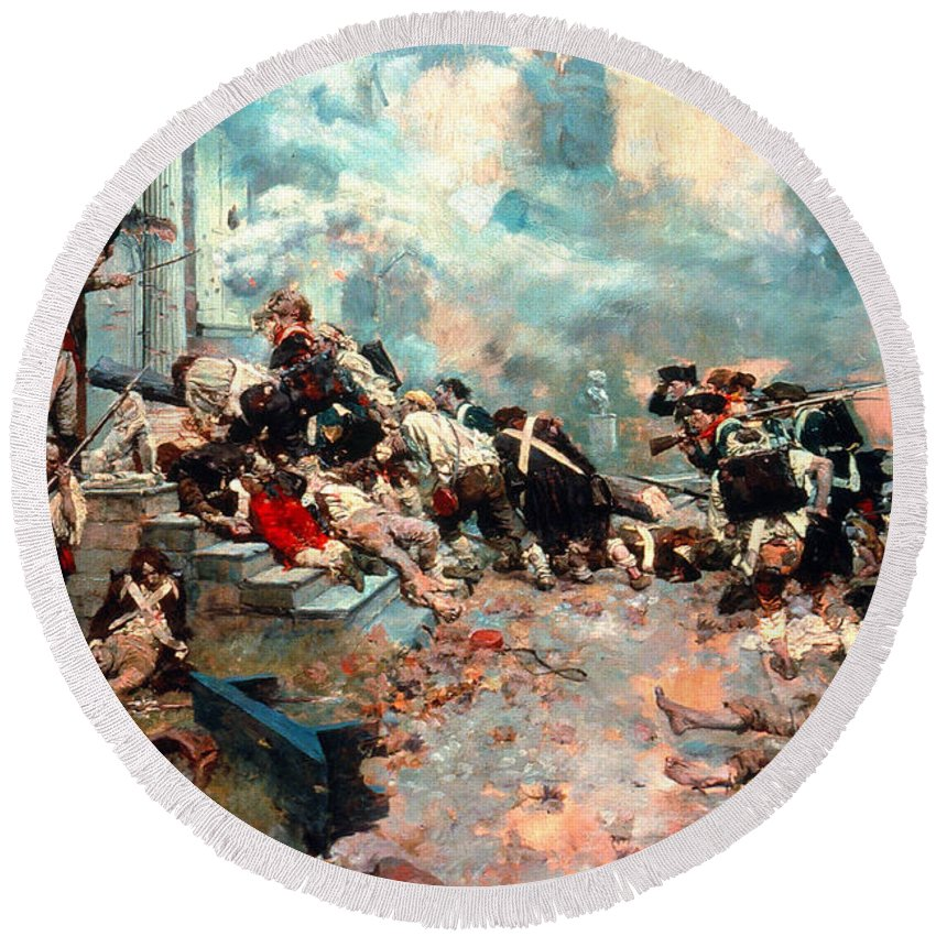 1777 Round Beach Towel featuring the photograph Pyle: Chew House Attack by Granger