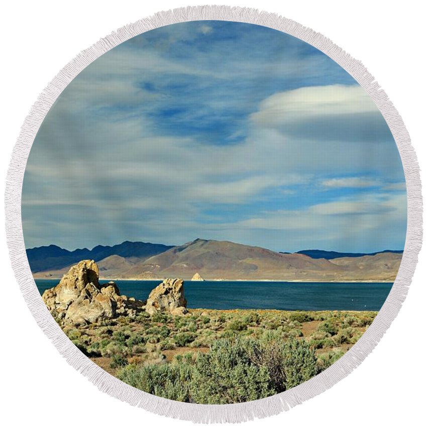 Pyramid Lake Round Beach Towel featuring the photograph Pyramid Lake by Benanne Stiens