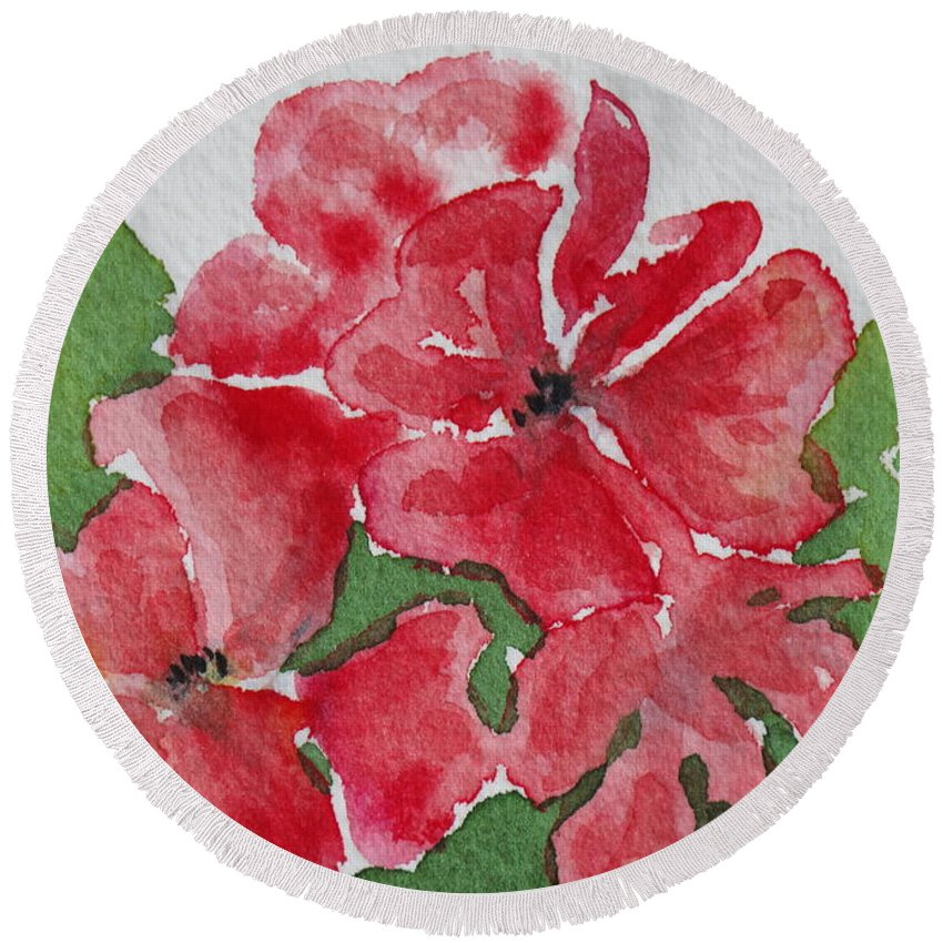 Floral Round Beach Towel featuring the painting Pzzzazz by Mary Ellen Mueller Legault
