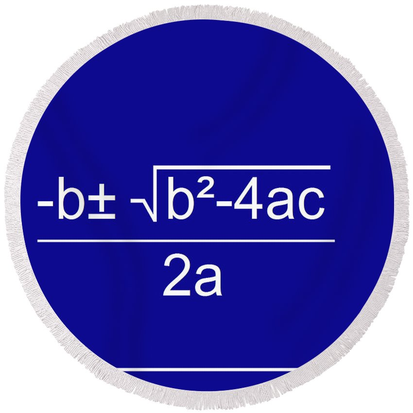 Featured Round Beach Towel featuring the digital art Quadratic Equation Blue-white by Paulette B Wright