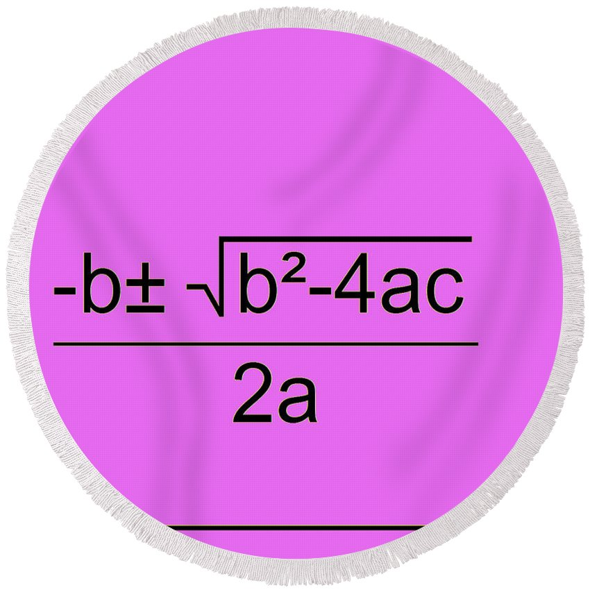 Featured Round Beach Towel featuring the digital art Quadratic Equation Pink-black by Paulette B Wright