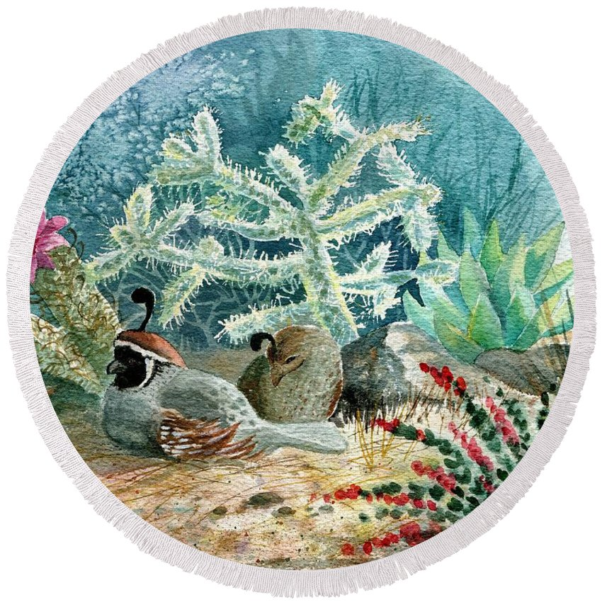 Gambel's Quail Round Beach Towel featuring the painting Quail At Rest by Marilyn Smith