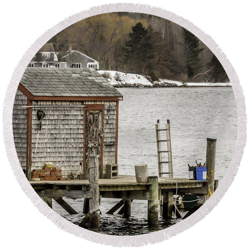 Laura Duhaime Photography Round Beach Towel featuring the photograph Quaint Fishing Shack New Hampshire by Laura Duhaime