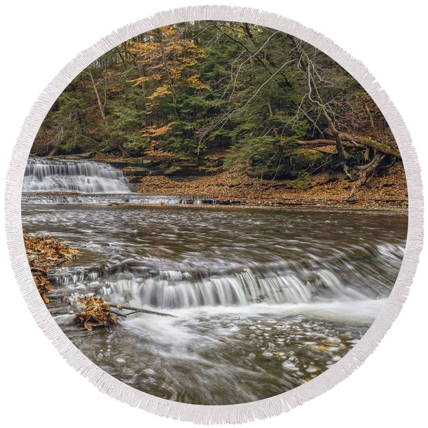 Background Round Beach Towel featuring the photograph Quarry Rock Falls by Jack R Perry