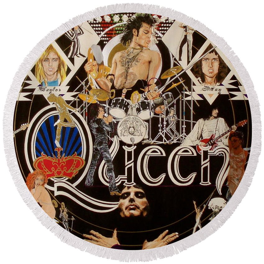 Freddie Mercury;brian May;roger Taylor;john Deacon;guitars;crown;royal;grapes;strawberries;drums; Round Beach Towel featuring the drawing Queen - Black Queen White Queen by Sean Connolly