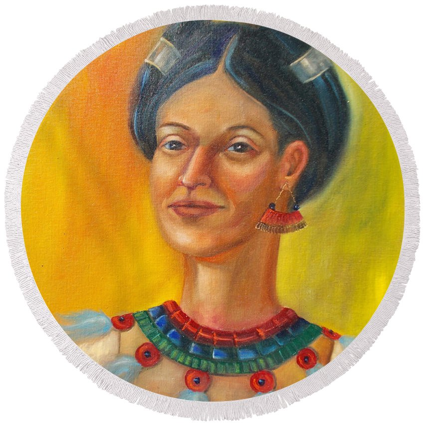 Aztec Round Beach Towel featuring the painting Queen Centehua by Lilibeth Andre