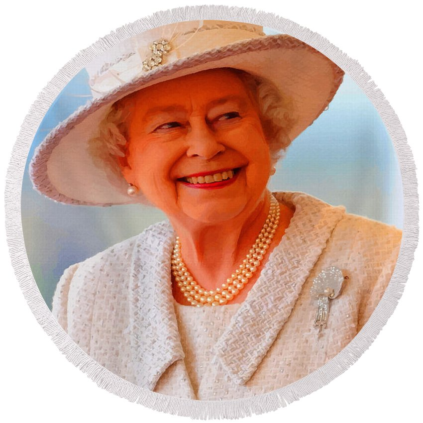Retouched Round Beach Towel featuring the digital art Queen Elizabeth II Portrait 100-028 by Don Kuing