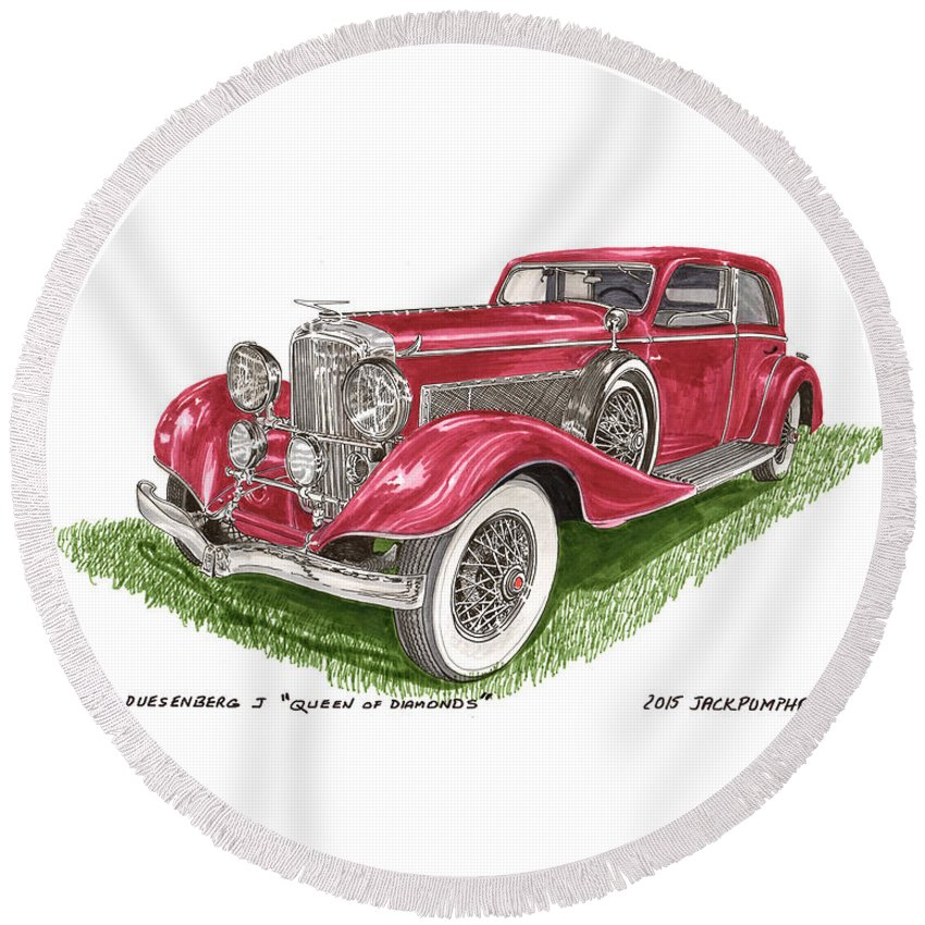 1933 Duesenberg Model J Franay Sports Berline Sedan Round Beach Towel featuring the painting Queen Of Diamonds 1933 Duesenberg Model J by Jack Pumphrey