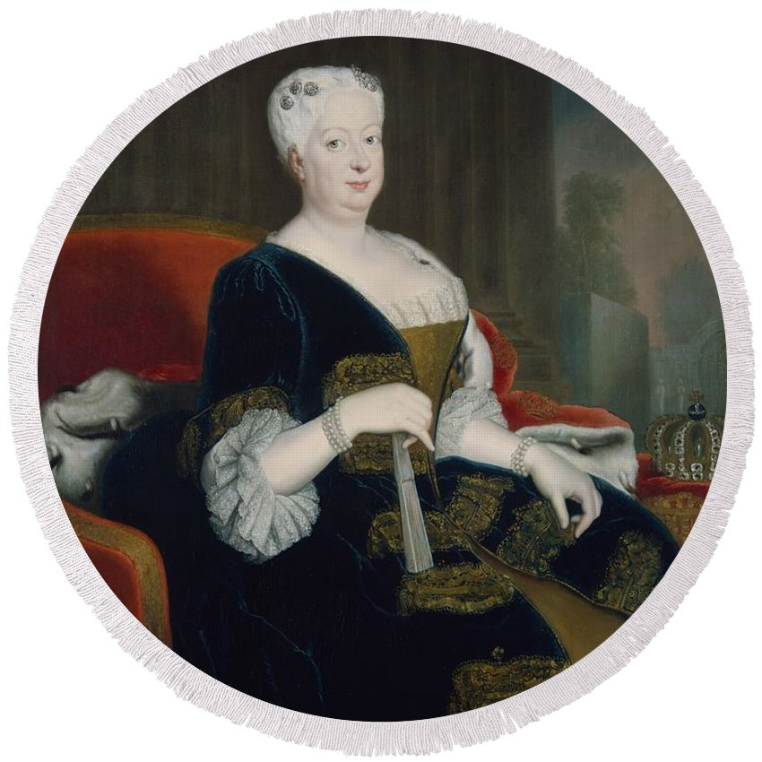 Female Round Beach Towel featuring the photograph Queen Sophia Dorothea Of Hanover Oil On Canvas by Georg Wenceslaus von Knobelsdorff