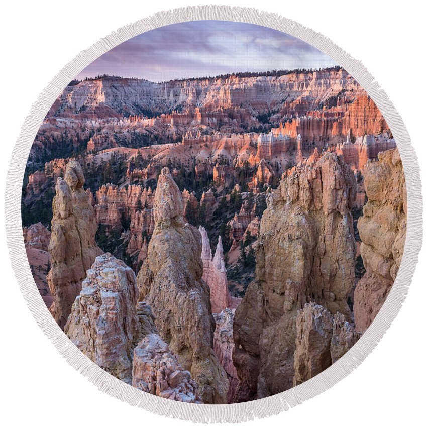 Bryce Canyon Round Beach Towel featuring the photograph Queen's Garden At Dawn 4 by Greg Nyquist