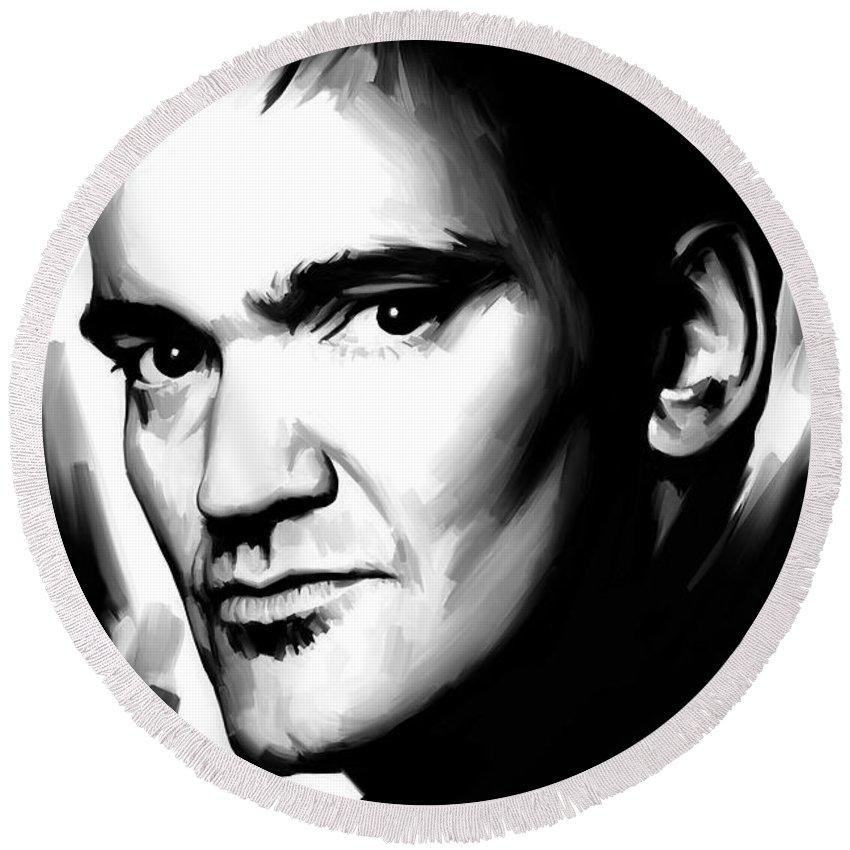 Quentin Tarantino Paintings Round Beach Towel featuring the painting Quentin Tarantino Artwork 2 by Sheraz A