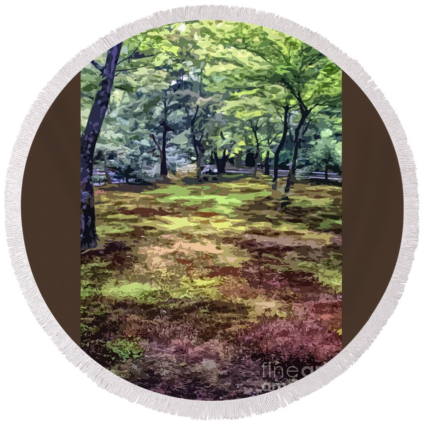 Abstract Round Beach Towel featuring the photograph Quiet Forest by Stefan H Unger